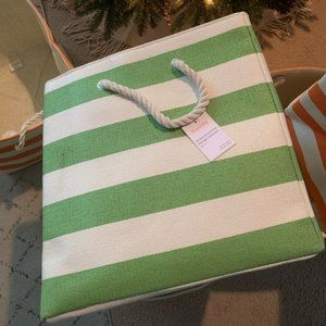 Crate and Barrel Stripe Bin - Green, One (1) Bin
